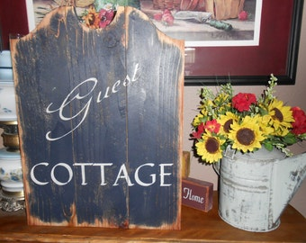 GUEST COTTAGE  primitive wood sign