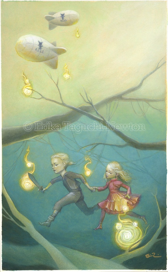 "Princess Bride 11x17 Fine Art Print , Princess Bride Tribute Painting, Buttercup and Wesley Art, ""Through the Fire Swamps"""