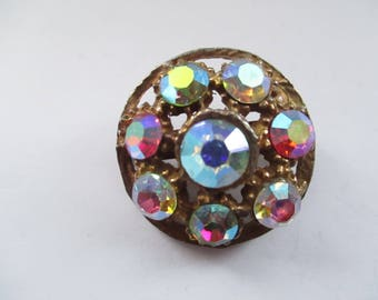 Vintage Gold Tone Brooch with Mirrored Glass Rhinestones, Mirror Glass Pin, Mirrored Glass Gemstones