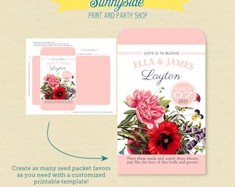 Wildflower Seeds Wedding Favor, Printable Seed Packet, DIY garden wedding favor seed packets, love bloom wildflowers
