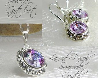 Lavender Purple Crystal Necklace and Earrings, Violet Swarovski, Sterling Silver Rhinestone Pendant, Spring Wedding Handmade Jewelry Set