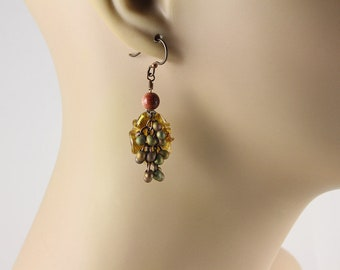 Gold Dangle Earrings, Lampwork Earrings, Fall Earrings, Beaded Earrings, Dangle Earrings, Glass Bead Earrings, Goldstone Earrings