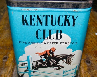Vintage Kentucky Club Pipe and Cigarette Tobacco Advertising Tin / Can