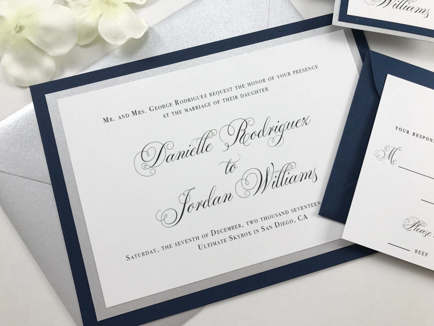 Navy Wedding Invites Silver Metallic and Navy Blue Classic
