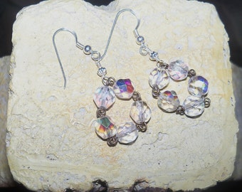 Crystal Earrings - AB crystals - sterling silver