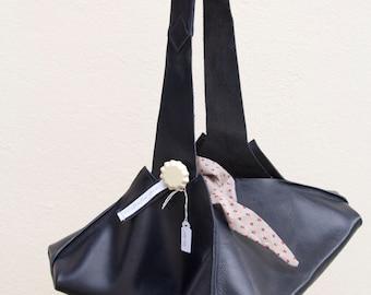 Sac à main en cuir, sac en cuir bleu marine, sac porté épaule, sac à main en cuir, fabriqué en France