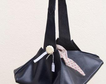 Bundle bag, «Sac Baluchon», blue navy leather and liberty