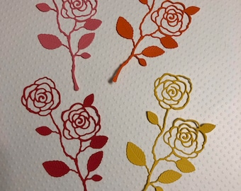 "4 English Roses, Handmade, Pink, Orange, Red, Yellow, 5"" Tall, Sizzix"