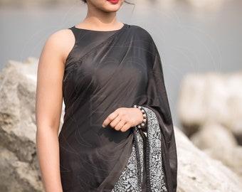Aratrika Black Pure Satin Embroidered Saree