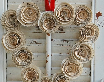 Two -  Heart Wreaths / Vintage Book Page Wreath / Paper Rose Wreath  9""