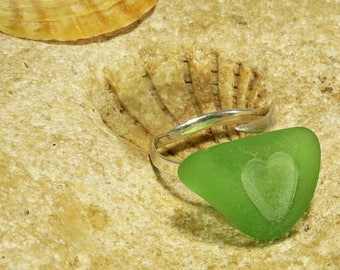 925 Sterling Silver Heart Sea Glass Ring Size 9 Valentines Day Gift for Her Beach Glass Ring Sea Glass Jewelry Beach Wedding