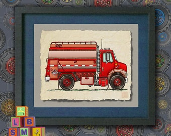 Kid Truck Art Cute Tank Truck Whimsical fuel delivery truck print adds to kids room truck theme as 8x10 or 13x19 vehicle wall decor