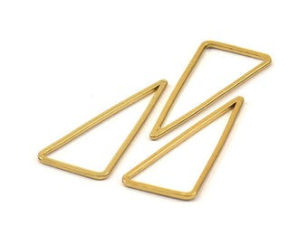 Gold Triangle Ring, 10 Gold Plated Open Triangles, Charms, Findings (30x33x15mm) BS 1146 Q072