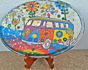 V W campervan wall sign, hippie peace sign, hippies, sixties, hippie decor,  boho wall hanging, pop art decoration, greek shop, hippie lover