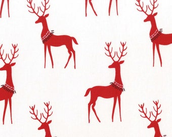 Santa Red Reindeers on White from Michael Miller Fabric's Woodland Winter Collection