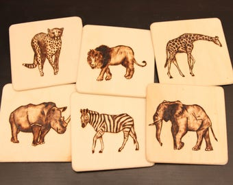 6x pyrographic wooden coasters/saucers/beer mats