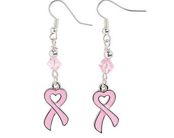Heart-Shaped Pink Ribbon Earrings