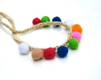Pom Pom Choker, Pom Pom Necklace, Pom Pom Jewelry, Tribal, Ethnic, Fun Necklace, Colorful Necklace, Pom Pom Choker