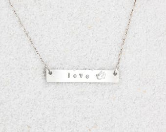 Silver Love and Dove Necklace