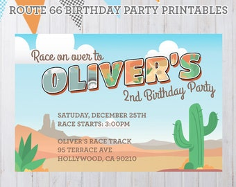 Personalized Radiator Springs Vintage Cars Birthday Party Printables - Invitation Only
