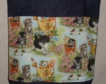 New Medium Handmade Cats Kittens Garden Pet Kitty Denim Tote Bag