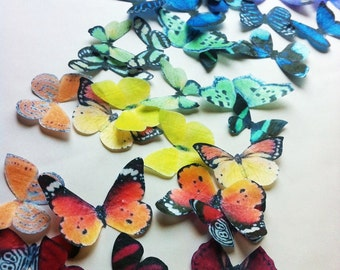 The Original EDIBLE BUTTERFLIES  - Rainbow Collection - set of 50 small - Cake & Cupcake toppers - Food Decoration