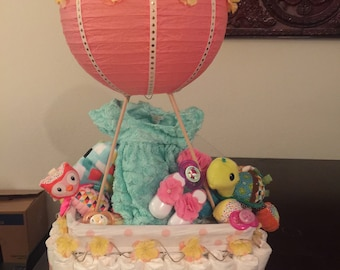 Diaper Cake Hot Air Balloon - Coral and Teal