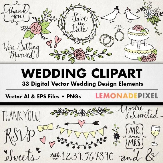 wedding clipart hand drawn clip art rustic wedding rh etsy com rustic wedding invitation clipart rustic wedding heart clipart