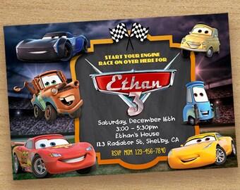 Cars Birthday Invitation Disney Cars Party Invite Cars