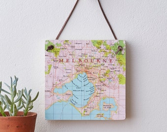 Personalised Melbourne map Map Location Hanging Block Wall Art - New home gift - Melbourne australia map - melbourne - city map - Australia