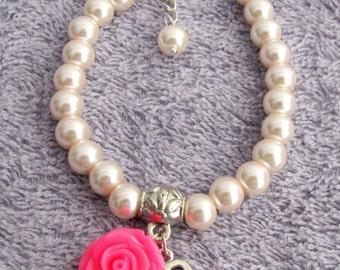 Personalized  Flower Girl Bracelet, Fuchsia Rose flower,Flower Girl Gift, kids Personalized bracelet, Flower Girl Jewelry, Free Shipping USA