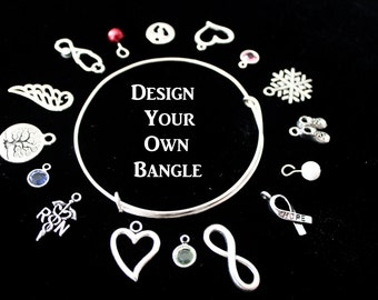 Personalize Your Own adjustable bangle / Stackable Bangles / Choose Your Own Charms / Silver Bracelets over 200 charms