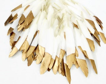 Gold Dipped Feathers, Bulk Feathers, Wedding Decorations, Cruelty Free Feathers