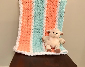 Crocheted Baby Blanket - Hand Made - Crochet - Mint - Coral