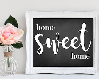 Home Sweet Home | Rustic Sign for Home | Chalkboard Background | Housewarming Gift | Home Decorations | Anniversary Sign | Rustic Home Decor