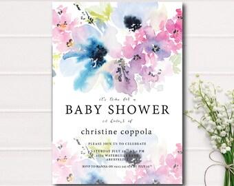 Gender Neutral Baby Shower Invitation, Blue Floral Baby Shower Invitation, Garden Baby Shower Invite Rustic Baby Shower Baby Shower Invite