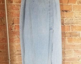 80s High Waisted Denim Skirt w/ Slit.