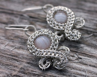 Rain Cloud Wire Wrapped Earrings - Sterling Silver And Agate