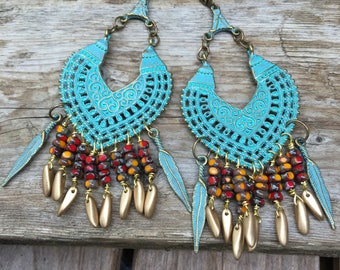 Large Gypsy Earrings\ Exotic Boho Chic Jewelry  \ Turquoise Green  Chandeliers \ Colorful Gypsy Earrings \Gift for her\