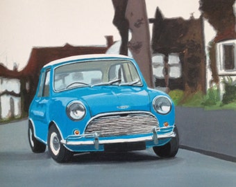 Mini Cooper, Austin Mini, Classic car, British car, Mini Cooper S, Car painting, Mini Cooper 1963, Mini Cooper print, car print,