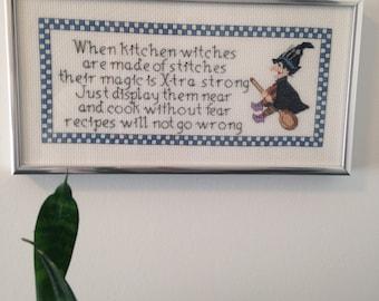 Kitchen Witch cross stitch pattern.