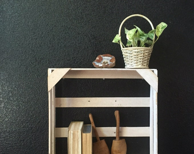 white wooden wall hanging crate shelf / wall pocket