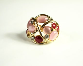 Atomic Era Ring. Pink and brown stones in an atomic spiral of gold. Adustable 1950s vintage.
