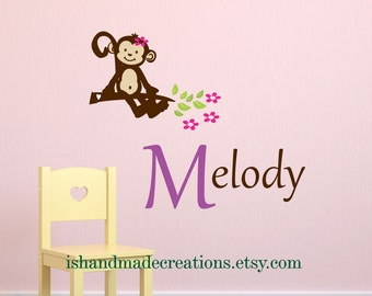 Nursery wall decals - Monkey Wall Decal -  Vinyl Wall decal Cute MONKEY - Personalized Initial Name   M0111A