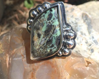 Variscite Ring  - Pure Silver bezel and beads with simple sterling silver band