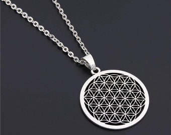 Flower of Life Buddhist Necklace Long Chain Seed of Life Sacred Geometry