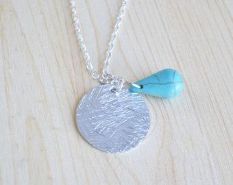 Turquoise Necklace Silver - Drop Pendant Necklace - Turquoise Silver Necklace - Custom Necklace Pendant - Silver Necklace Pendant