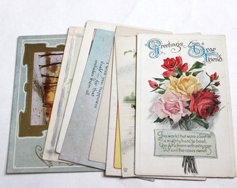 8 Vintage Greeting Postcards -  Unused Blank Postcards