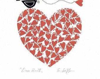 Valentines Day / Anniversary Gift - Red Heart Print - Original Linocut Hand Pulled  -  Love Heart - Love Gift - Signed Original Print