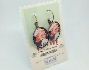Navy pin-up earrings